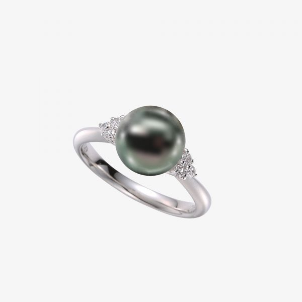 Tahitian Pearl Ring with Diamonds