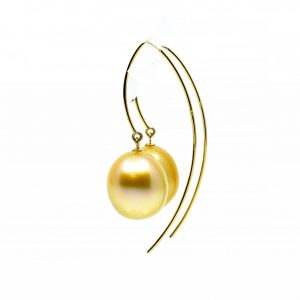 South Sea Gold Pearl Drop Earrings 11-12mm