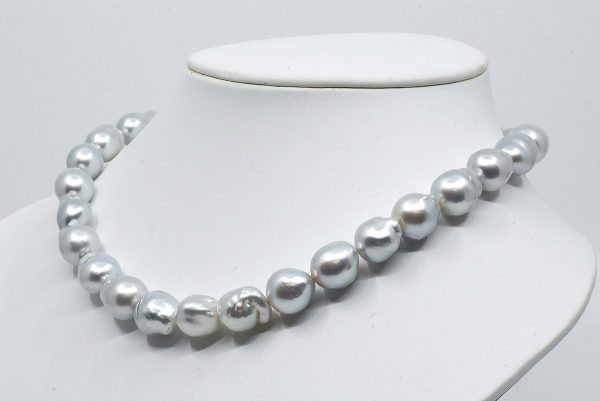 White South Sea Baroque Necklace 10-12mm, Cool Breeze Blue