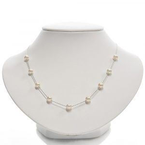 "Japanese Akoya Pearl ""Tin-Cup"" Station Necklace"