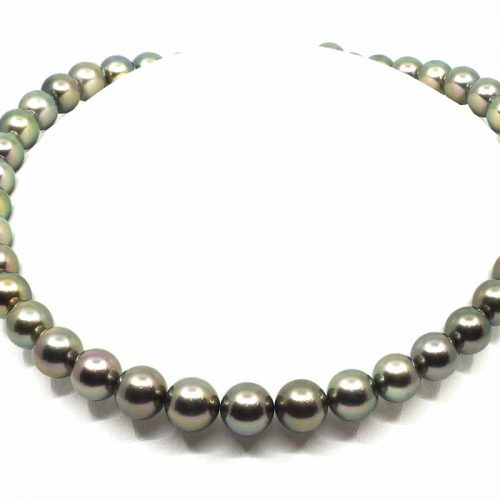 8-10mm Black Tahitian Peacock Pearl Necklace