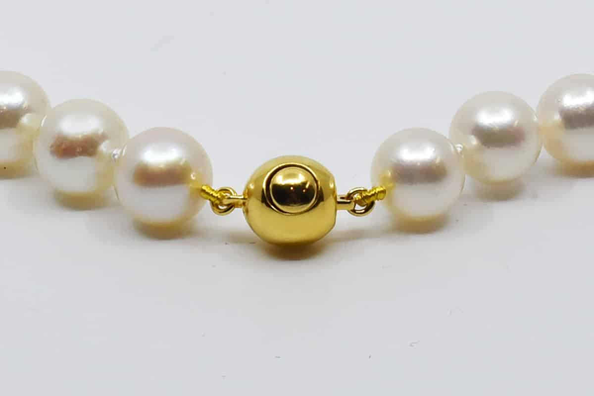 White Japanese Akoya Pearl Necklace, 7-7.5mm, AA
