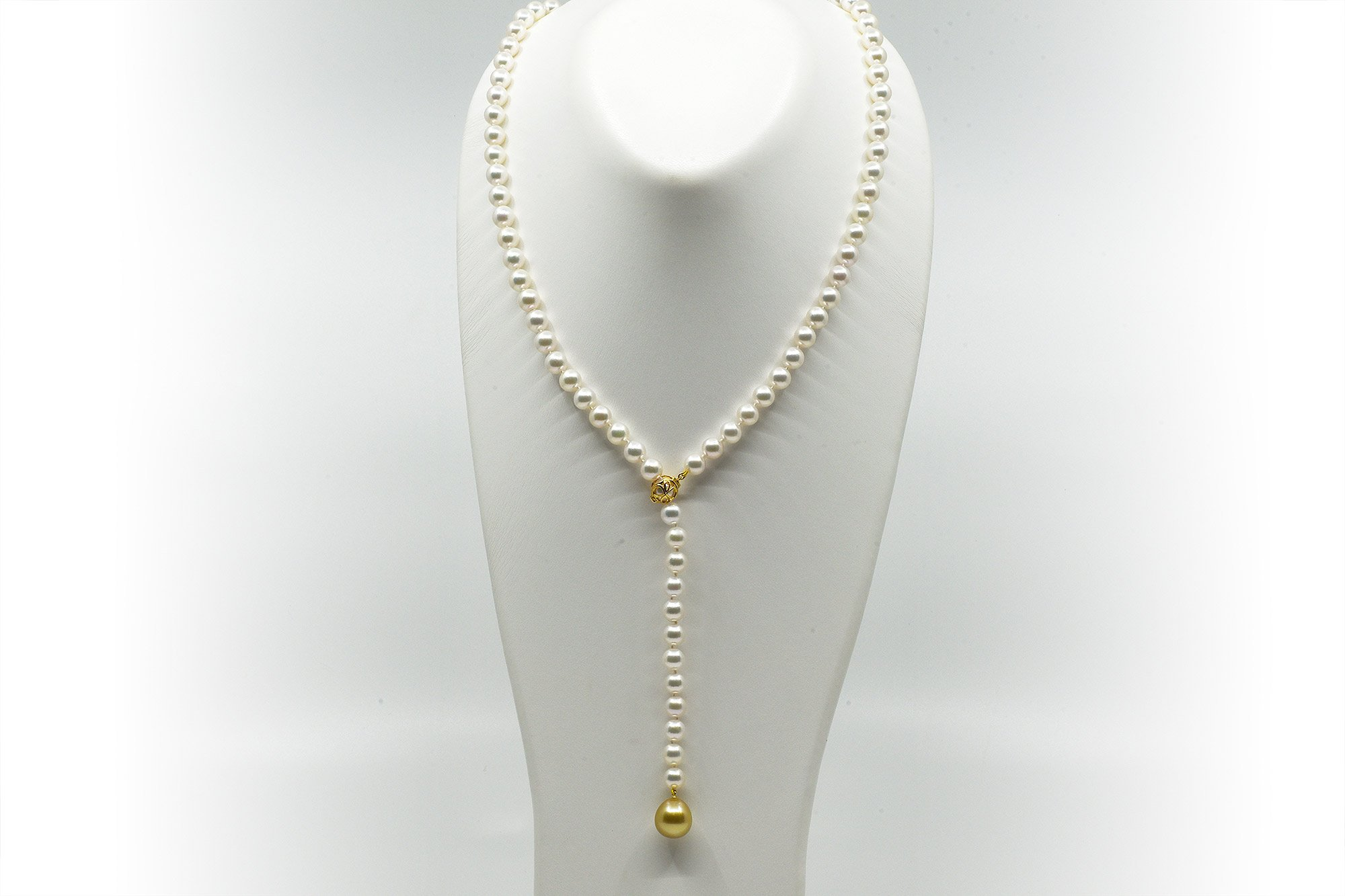 Japanese Akoya pearl lariat with a Golden South Sea drop