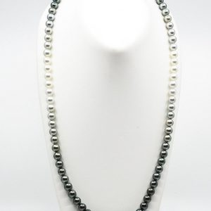 9mm Long White South Sea and Tahitian Ombre Pearl Necklace with color graduation