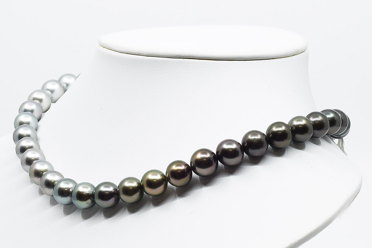 10mm White South Sea and Tahitian Pearl Ombre Necklace with color graduation