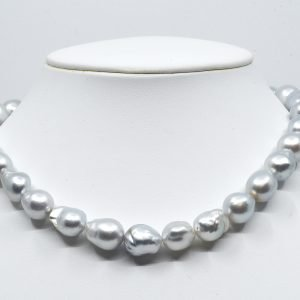 White silver south sea baroque necklace