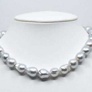White silver south sea baroque necklace