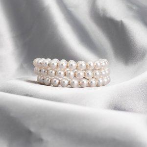 Japanese Akoya triple pearl bracelet AAA luster Hanadama Quality