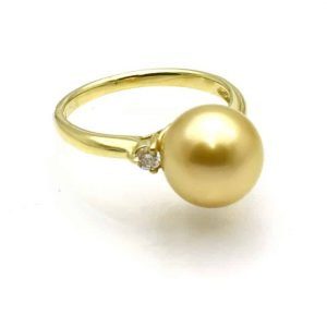 Gold south sea pearl ring AAA luster