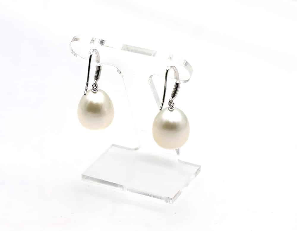 White south sea drop pearl earrings