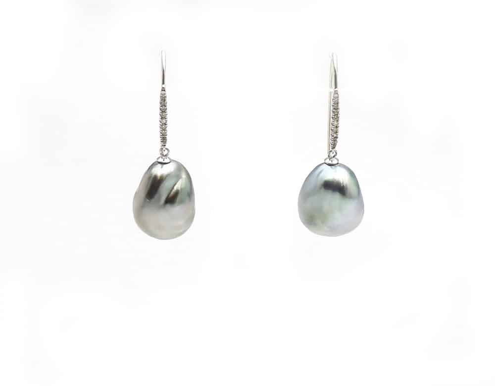 Silver Tahitian Baroque pearl drop earrings with diamonds