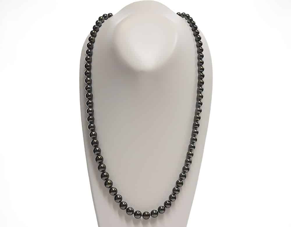 Double Length Black Tahitian Pearl Necklace