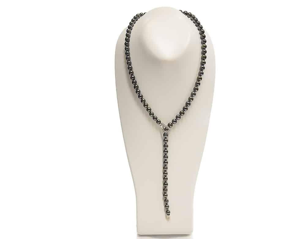 Black Tahitian pearl necklace lariat design