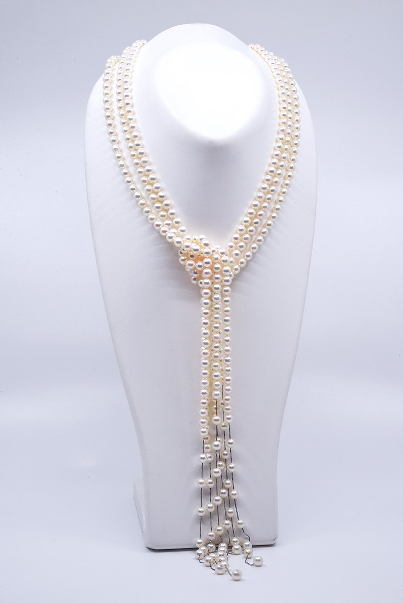 Japanese Akoya pearl waterfall necklace with 6 strands
