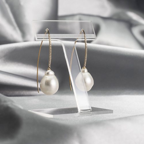 White south sea baroque pearl drop earrings on yellow gold and diamonds