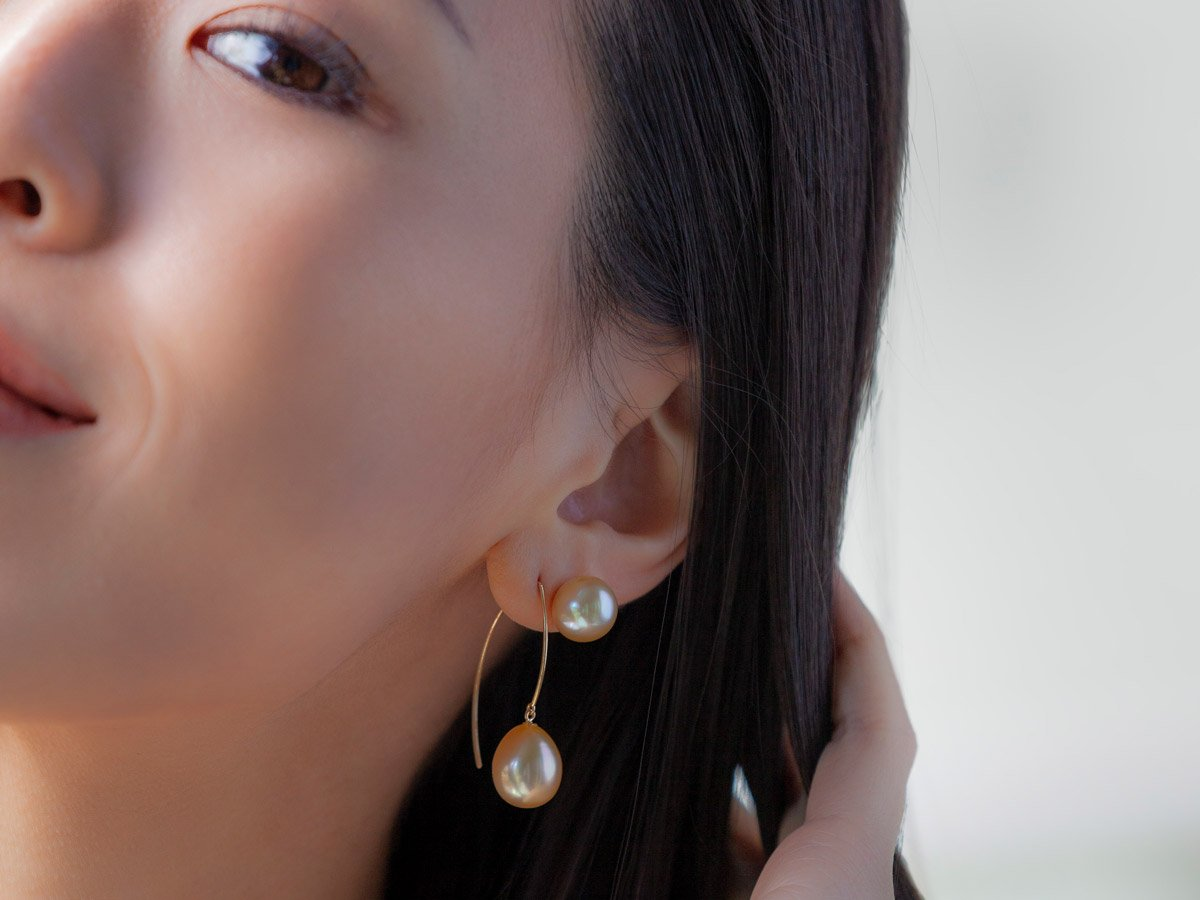 Gold south sea drop pearl earrings