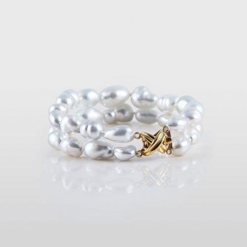 White South Sea Natural Keshi Pearl Bracelet