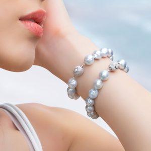 Natural Blue White South Sea Baroque Bracelet