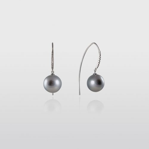 Black Tahitian Pearl Earrings with Diamonds