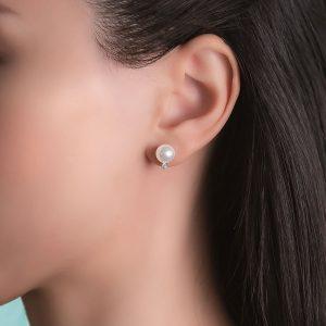 Japanese Akoya Stud Pearl Earrings with Diamonds