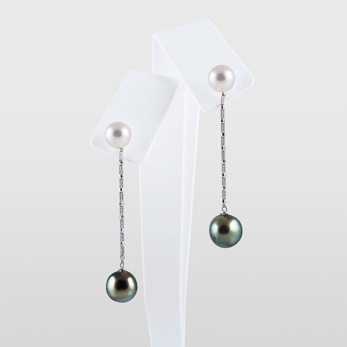 Japanese Akoya Pearl Studs and Tahitian Pearl Enhancer Jacket Earrings