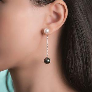 Japanese Akoya Pearl Studs and Tahitian Pearl Enhancer Jacket Earrings