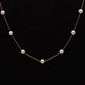 Japanese Akoya Tin-cup station necklace
